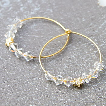 Star Hoops Elaborated With Swarovski Crystals