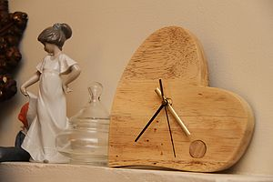 Hand Crafted Valentine Wooden Clock - office & study