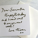 example of a hand written card