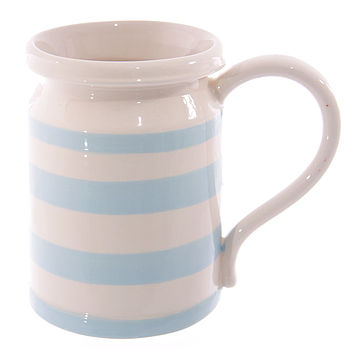 Blue & White Stripe Milk Churn Mug
