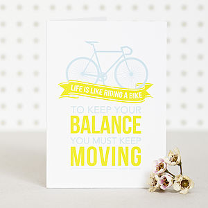 'Keep Your Balance' Bike Card - sympathy & sorry cards