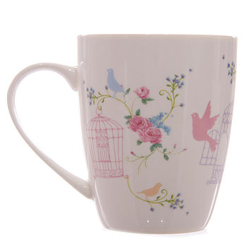 Bone China Floral Bird Mug
