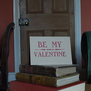 'Be My Valentine' Letterpress Valentine Card