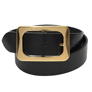 Gold Plated Buckle Leather Belt