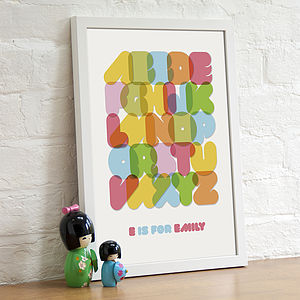 Personalised Child's Alphabet Print - decorative letters
