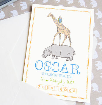 Personalised Illustrated New Baby Card
