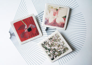 Square Flower Brooches