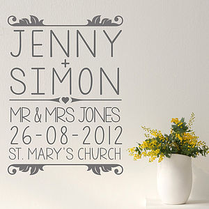 Personalised Wedding Wall Sticker
