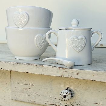 Embossed Heart Sugar Bowl With Spoon
