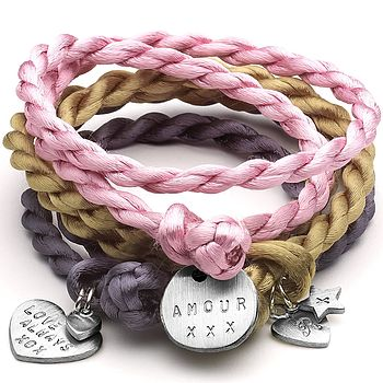 Personalised Satin Charm Wrap Bracelet
