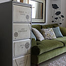 Personalised metal filing cabinet in grey, antique white and beige