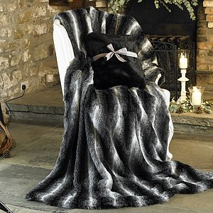 Bon Nuit Faux Fur Black And White Luxurious Throw - home sale