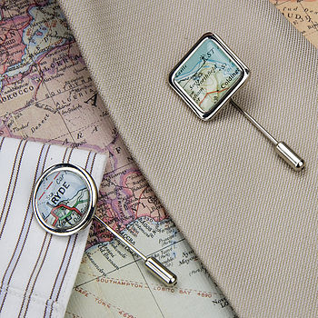 Map Personalised Location Tie Pin