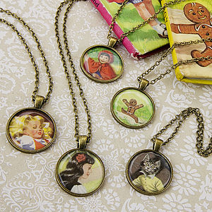 Story Book Illustration Pendant Necklace - necklaces & pendants