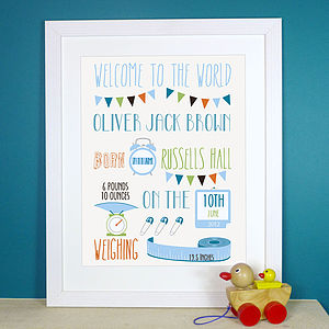 Personalised Baby Birth Print - christening gifts