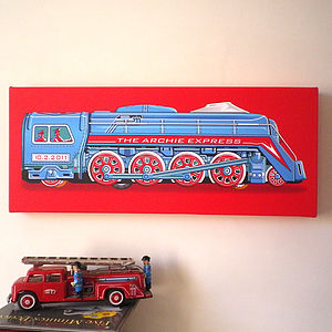 Personalised Tin Express Train Canvas Print - paintings & canvases