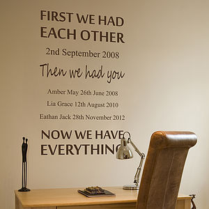 Personalised We Had Each Other Wall Sticker - pictures, prints & paintings