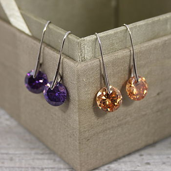 Single Cubic Zirconia Gem Earrings