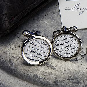 Name Definition Personalised Cufflinks Circle - men's jewellery