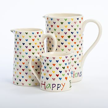 Personalised Love Heart Jug, Hand Painted