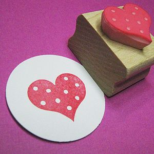 Spotty Heart Wedding Hand Carved Rubber Stamp