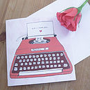 'P.S I Love You' Typewriter Valentine's Card with white envelope