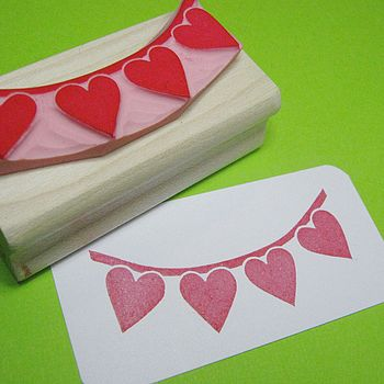 Love Heart Bunting Wedding Hand Carved Rubber Stamp
