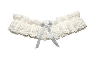 Luella Frill Vintage Lace Silk Bow Wedding Garter - the morning of the big day