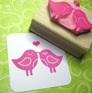 Love Birds Hand Carved Rubber Stamp - cards & wrap