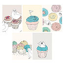 Set Of Five Bird And Cupcake Gift Tags