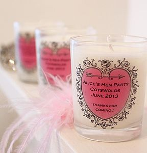 Hen Party Favour Personalised Candle - dining room
