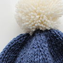Blue and cream chunky pompom hat