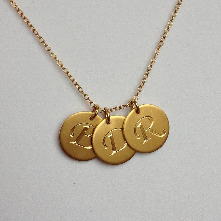 Personalised hand engraved initial necklace by harry rocks gold matt letters aloadofball Choice Image