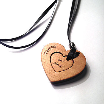 Personalised Wood Heart Pendant