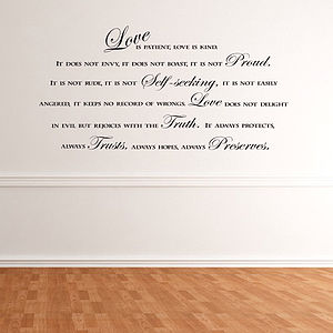 'Love Is Patient Love Is Kind' Wall Decal