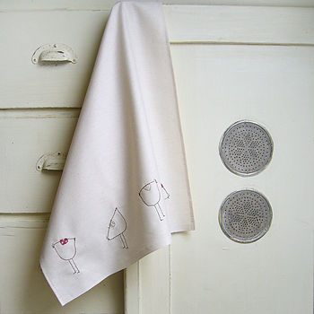 Cotton Chickens Tea Towel - Natural