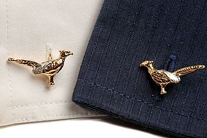 Pheasant Cufflinks In Gold And Silver