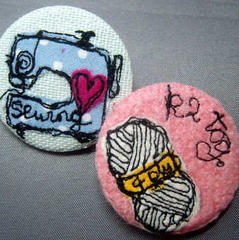 Embroidered Knitting And Sewing Badge