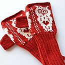 Valentine Owl Knitted Fingerless Gloves