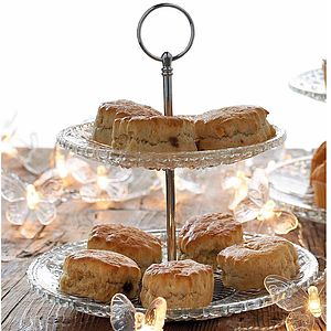 Two Tier Cut Glass Design Cake Stand - cake stands