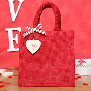 Personalised Love Heart Tag Jute Bag