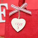 detail of love heart tag