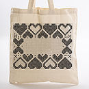 Heart Border Tote Bag Cross Stitch Kit