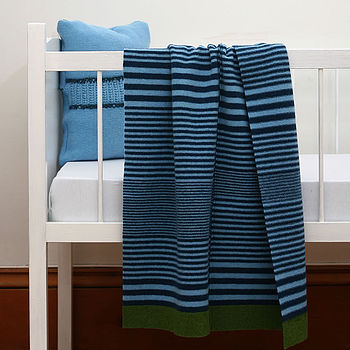 100% Lambswool Striped Baby Blanket