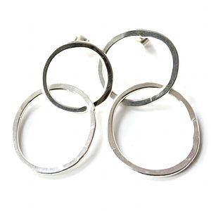 Silver Double Hoop Earrings - earrings