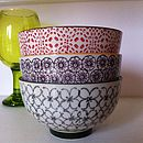 Set Of Three Patterned Porcelain Rice Bowls
