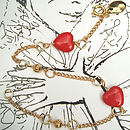 Red And Gold Heart Bracelet With Charm