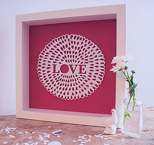 'Love' Flower Papercut - pictures, prints & paintings