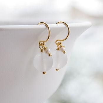 Matt Crystal And Freshwater Pearl Earrings