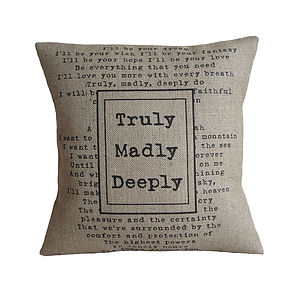 'Truly Madly Deeply' Cushion Cover - bedroom